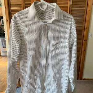 Blue and yellow pin stripped dress shirt